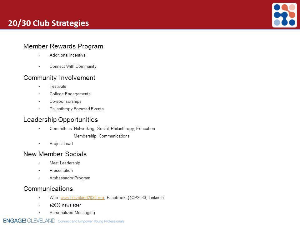 20/30 Club Strategies Member Rewards Program Community Involvement