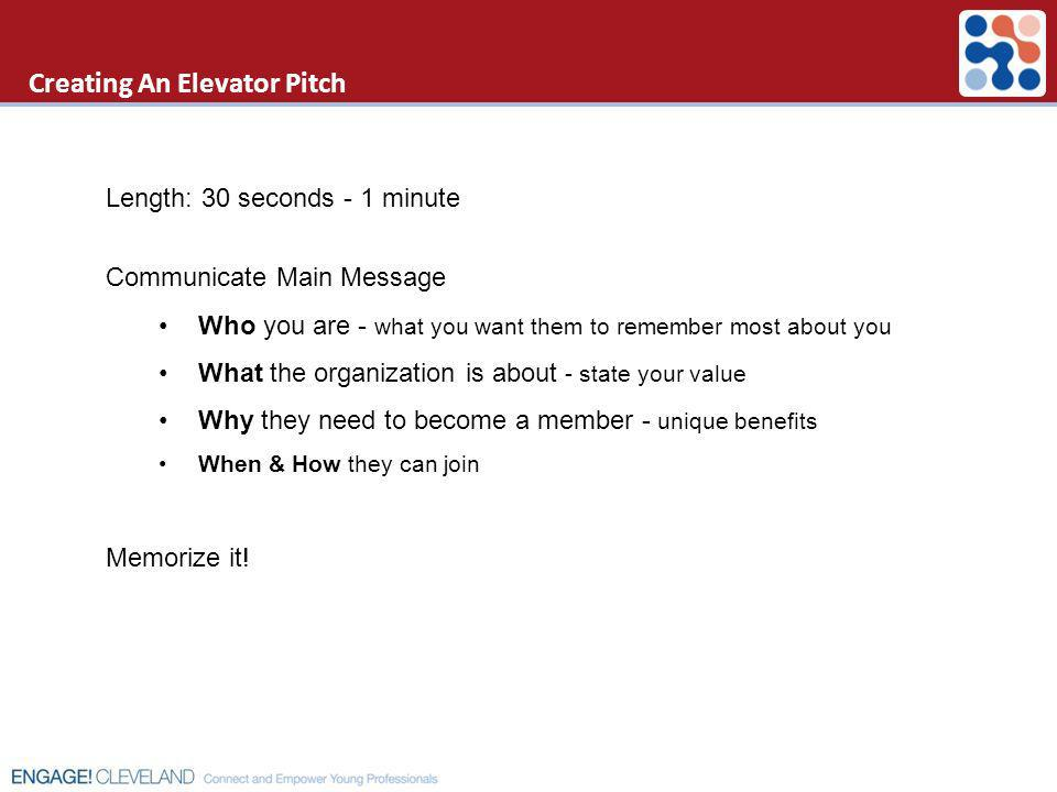 Creating An Elevator Pitch