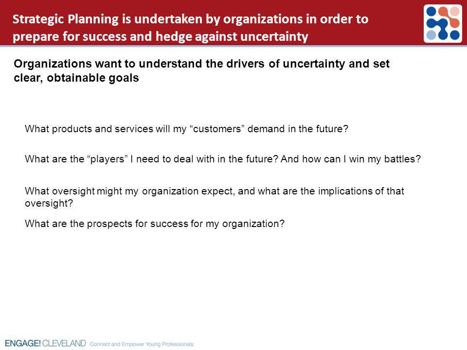 Strategic Planning is undertaken by organizations in order to prepare for success and hedge against uncertainty