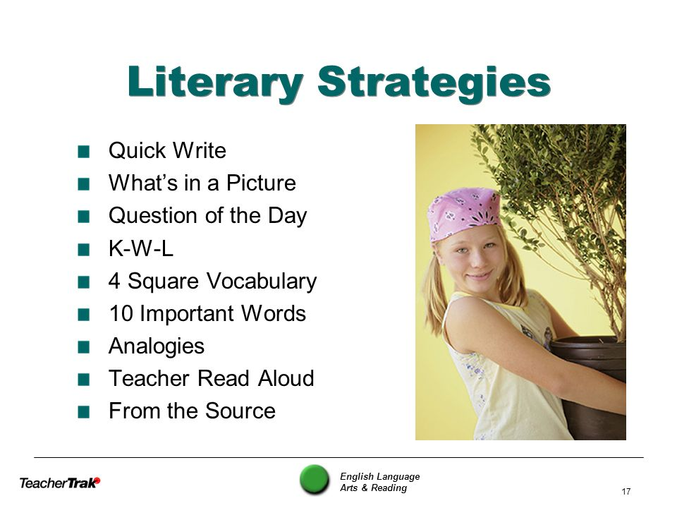 Literary Strategies Quick Write What's in a Picture