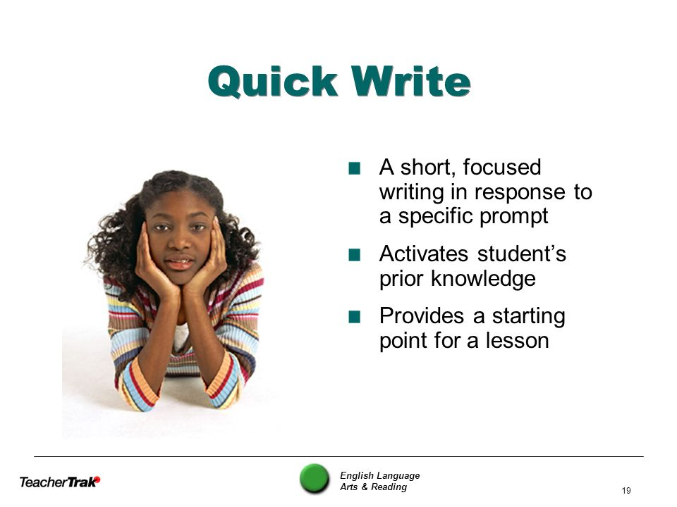 Quick Write A short, focused writing in response to a specific prompt