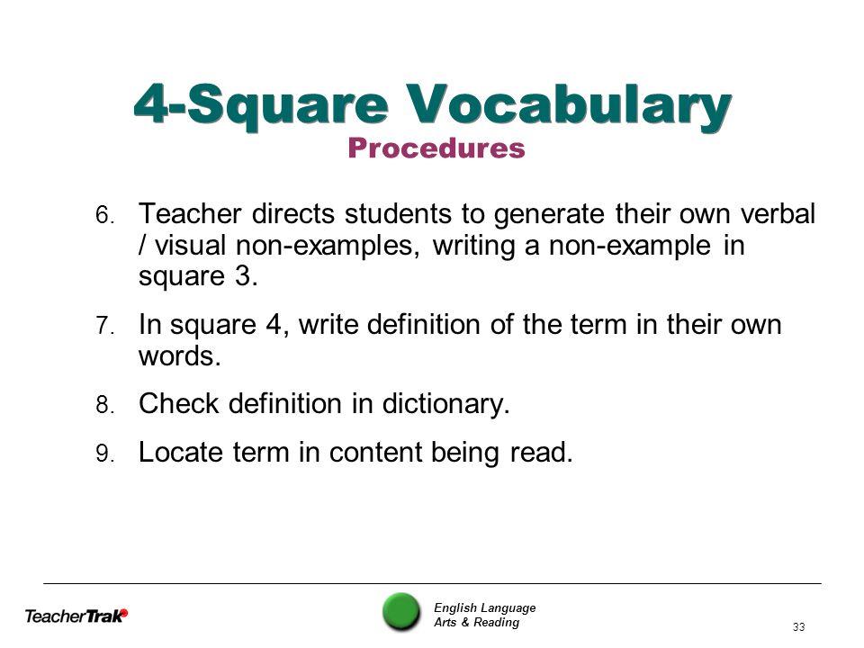 4-Square Vocabulary Procedures