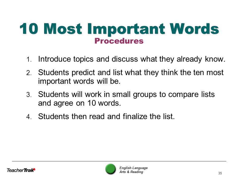 10 Most Important Words Procedures