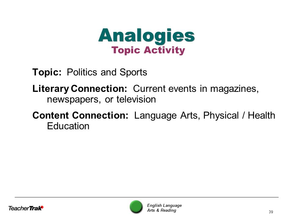 Analogies Topic Activity Topic: Politics and Sports