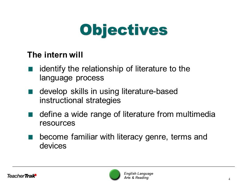 Objectives The intern will