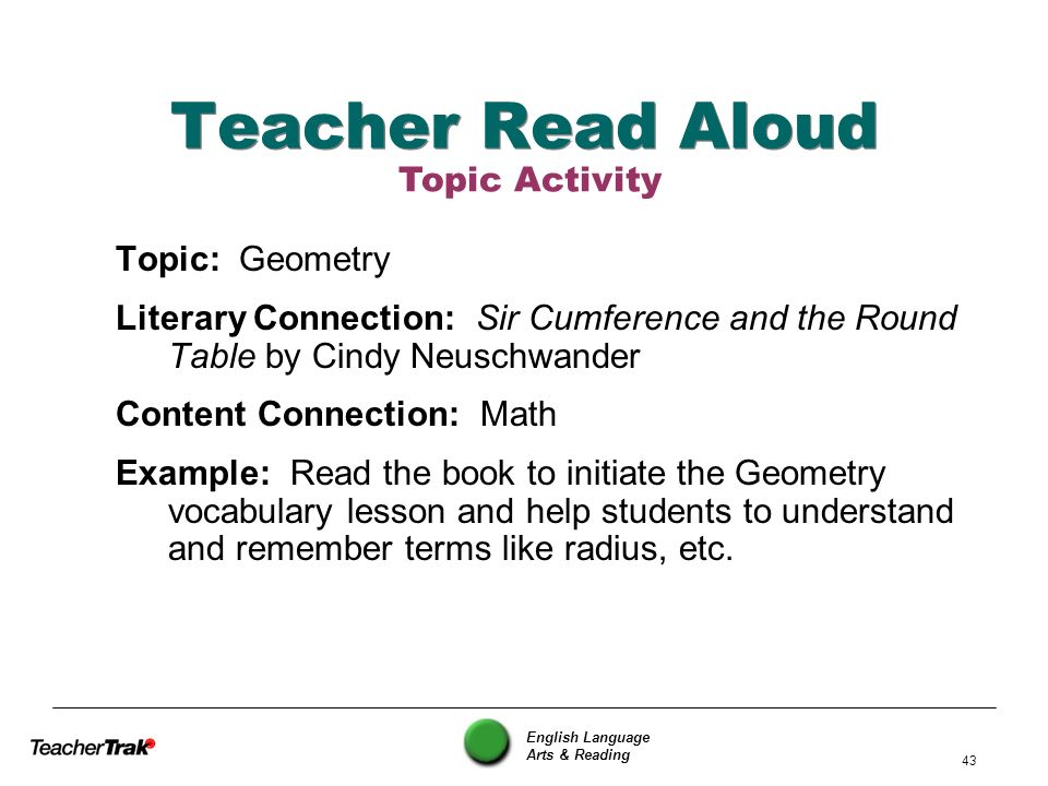 Teacher Read Aloud Topic Activity Topic: Geometry