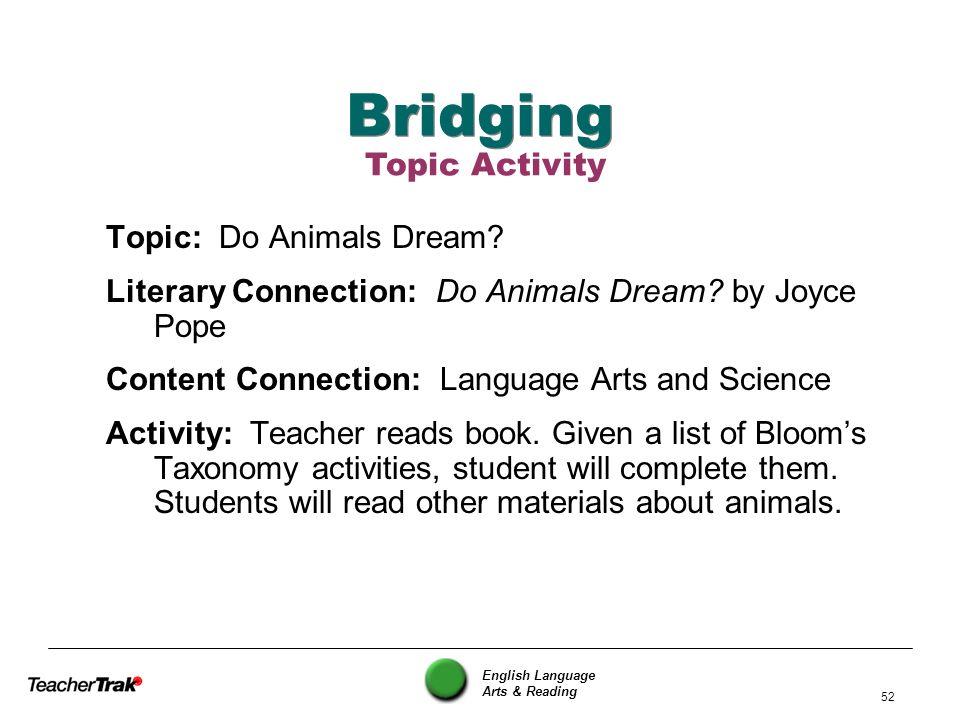 Bridging Topic Activity Topic: Do Animals Dream