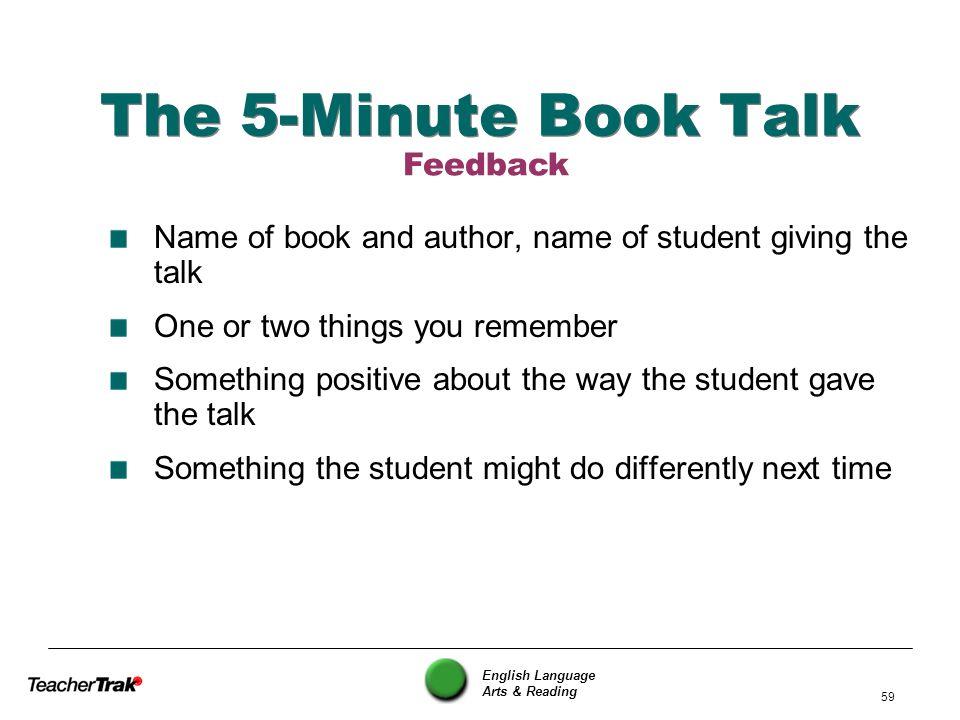 The 5-Minute Book Talk Feedback