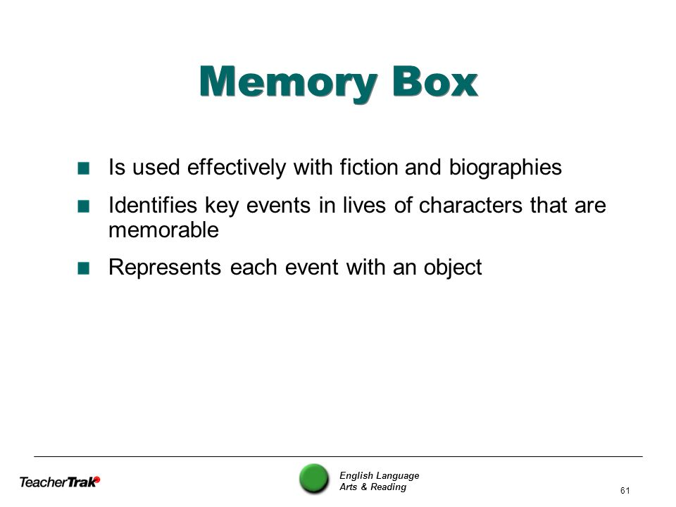 Memory Box Is used effectively with fiction and biographies