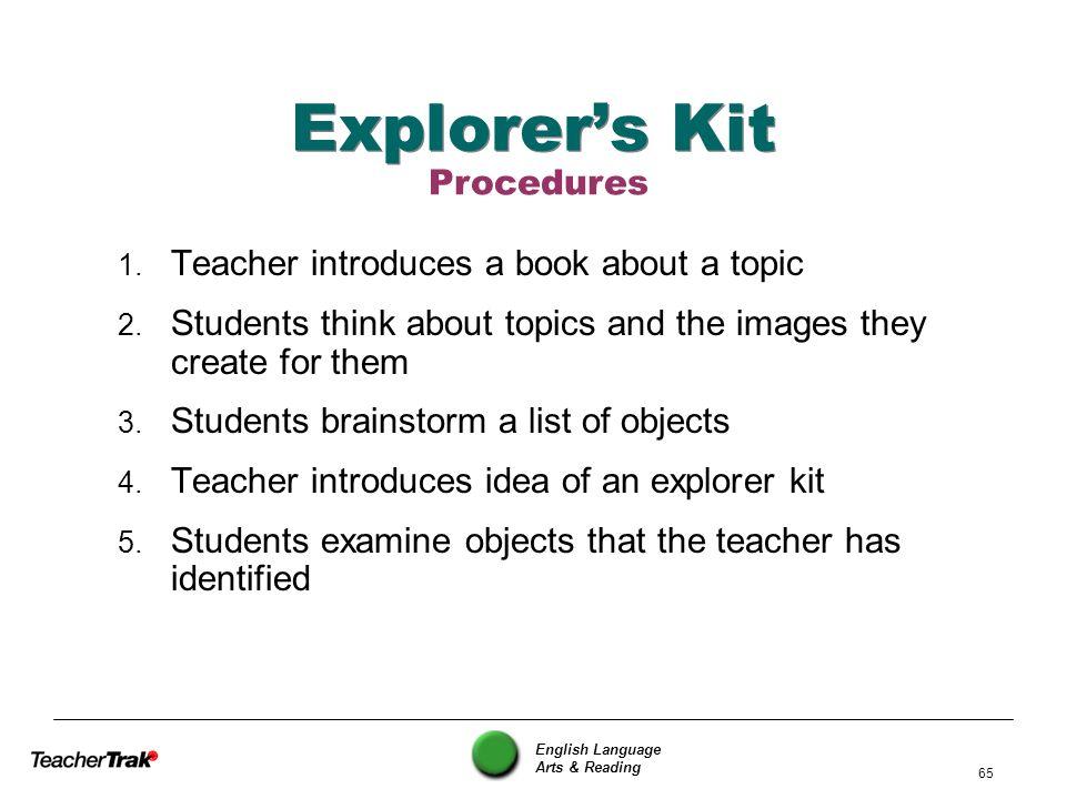 Explorer's Kit Procedures Teacher introduces a book about a topic