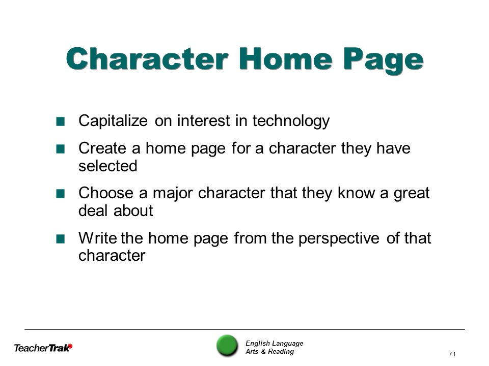 Character Home Page Capitalize on interest in technology