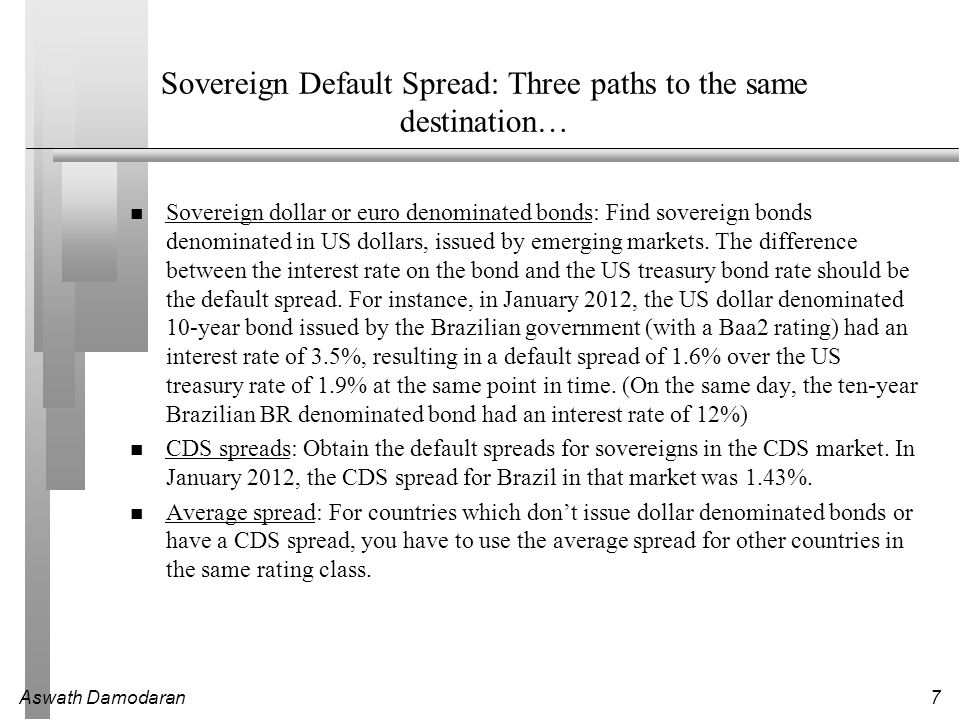 Sovereign Default Spread: Three paths to the same destination…