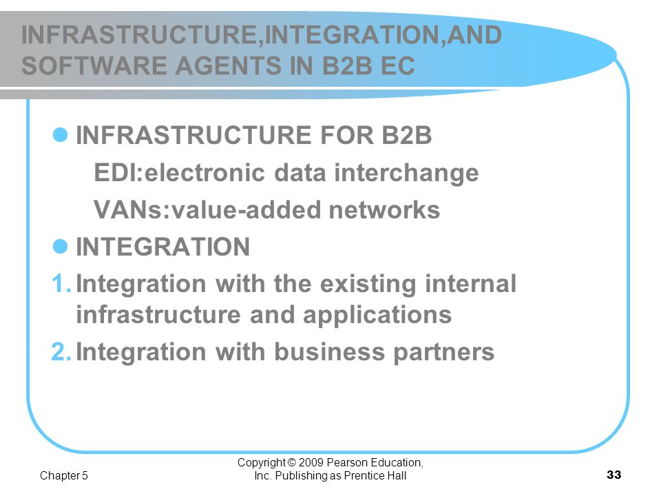 INFRASTRUCTURE,INTEGRATION,AND SOFTWARE AGENTS IN B2B EC