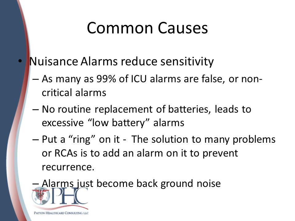 Common Causes Nuisance Alarms reduce sensitivity