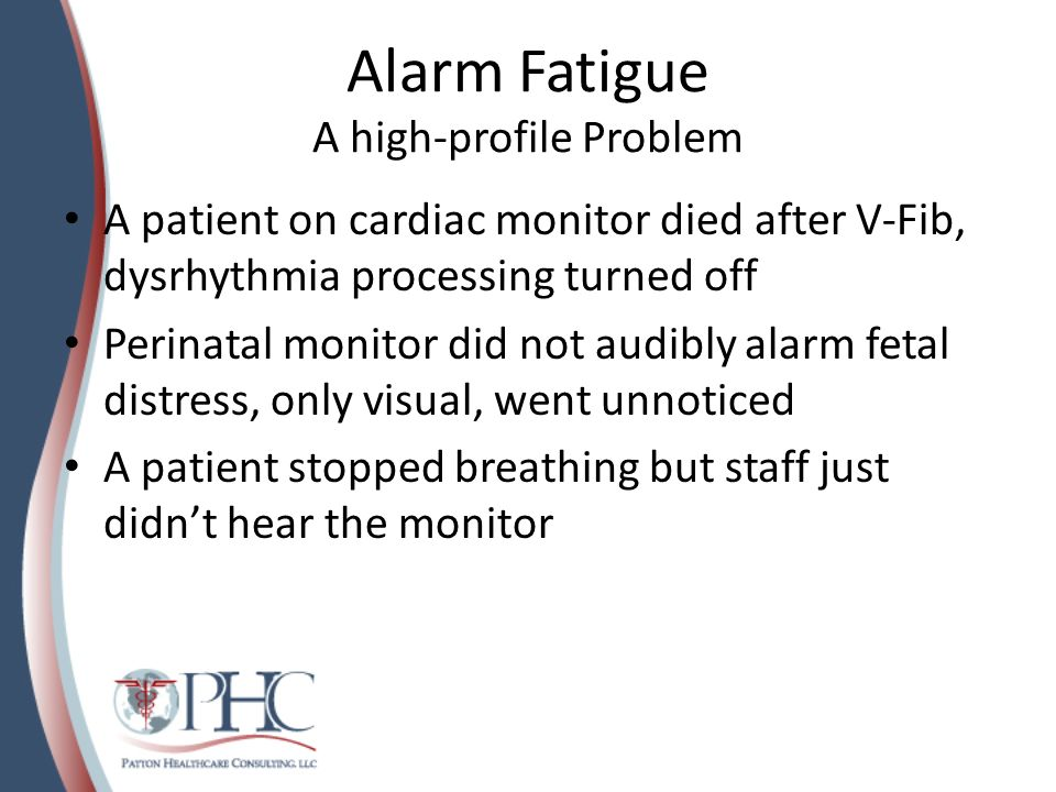 Alarm Fatigue A high-profile Problem