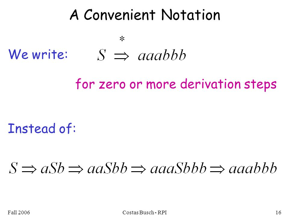 A Convenient Notation We write: Instead of: