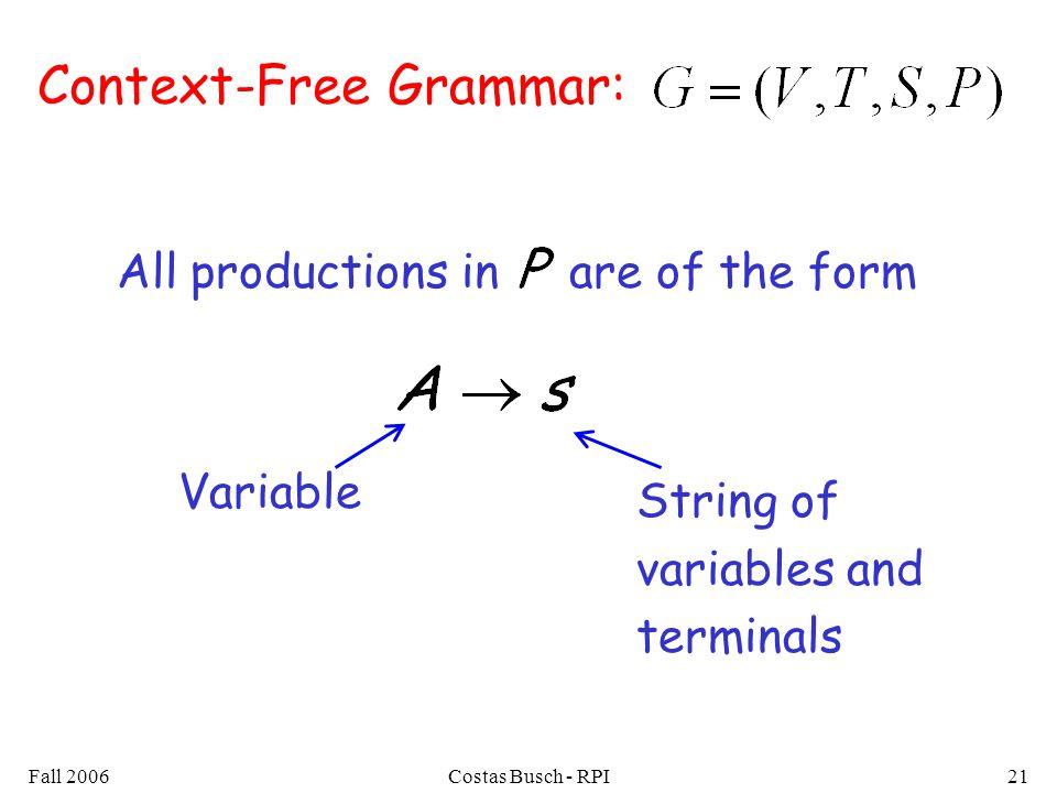 Context-Free Grammar: