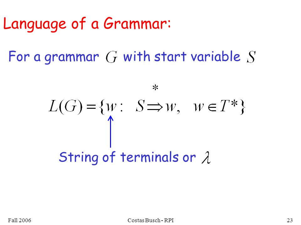 Language of a Grammar: For a grammar with start variable