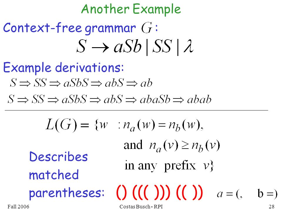 () ((( ))) (( )) Another Example Context-free grammar :