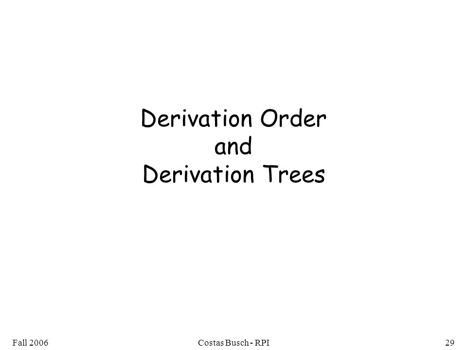 Derivation Order and Derivation Trees