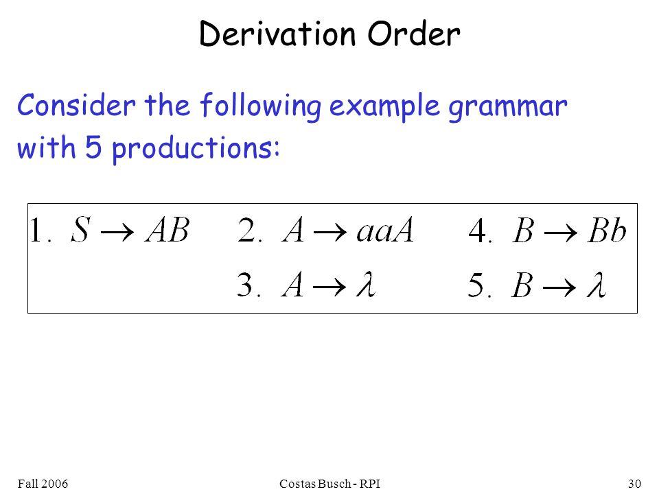 Derivation Order Consider the following example grammar