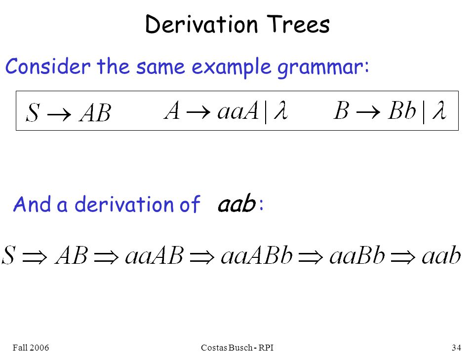 Derivation Trees Consider the same example grammar: