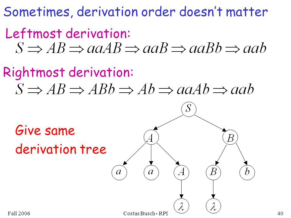 Sometimes, derivation order doesn't matter