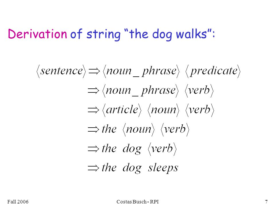 Derivation of string the dog walks :