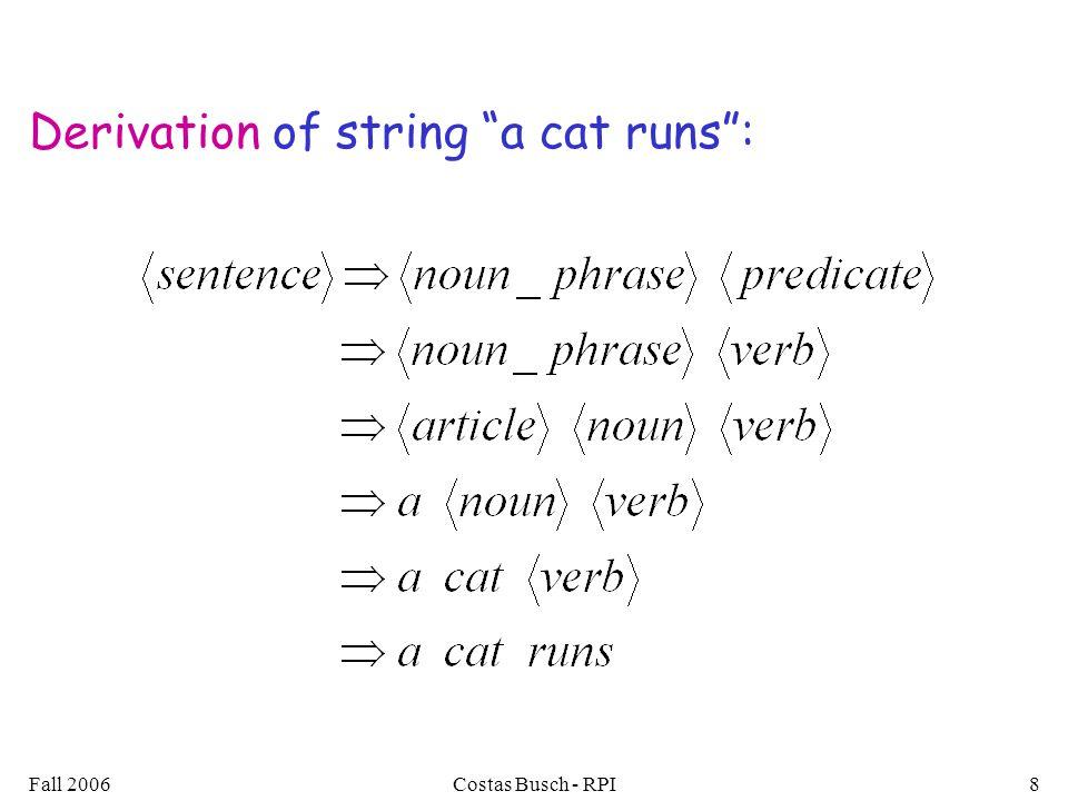 Derivation of string a cat runs :