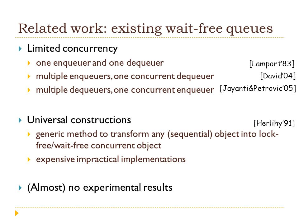 Related work: existing wait-free queues