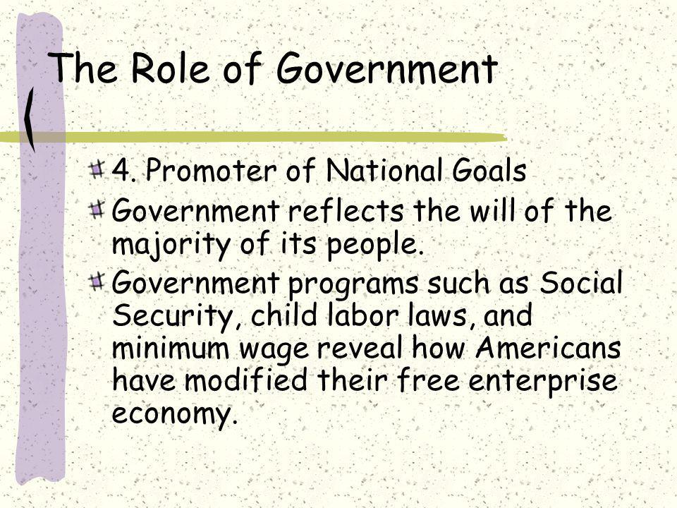 The Role of Government 4. Promoter of National Goals