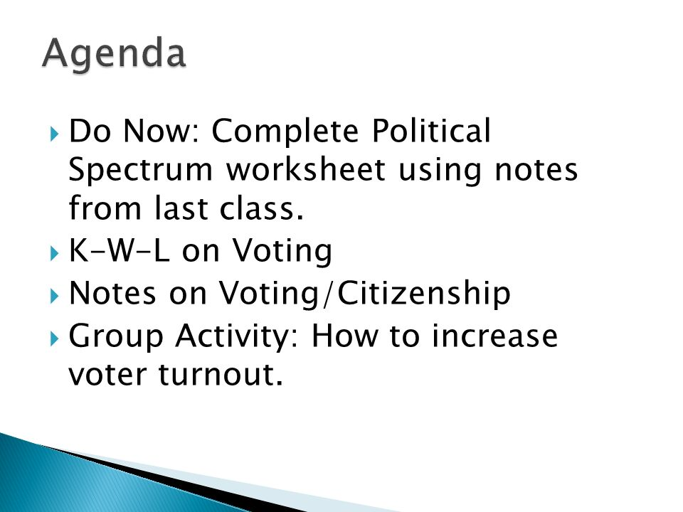 Agenda Do Now: Complete Political Spectrum worksheet using notes from last class. K-W-L on Voting.