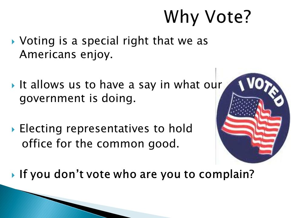 Why Vote Voting is a special right that we as Americans enjoy.