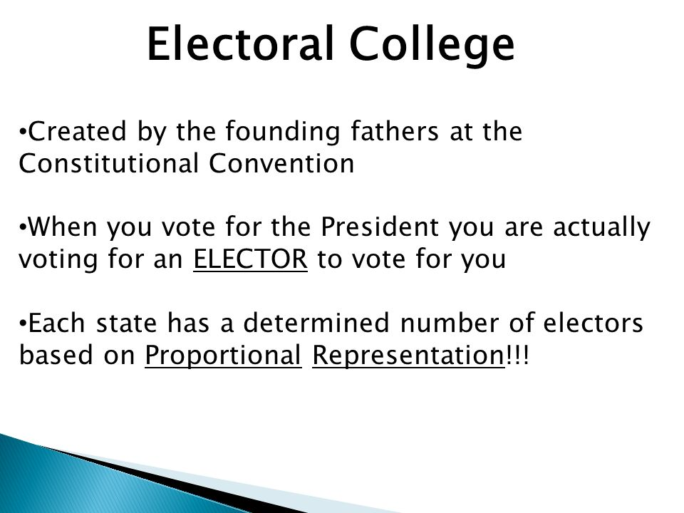 Electoral College Created by the founding fathers at the Constitutional Convention.