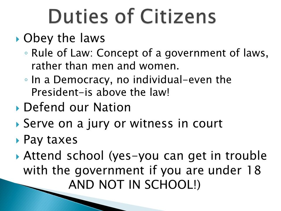 Duties of Citizens Obey the laws Defend our Nation