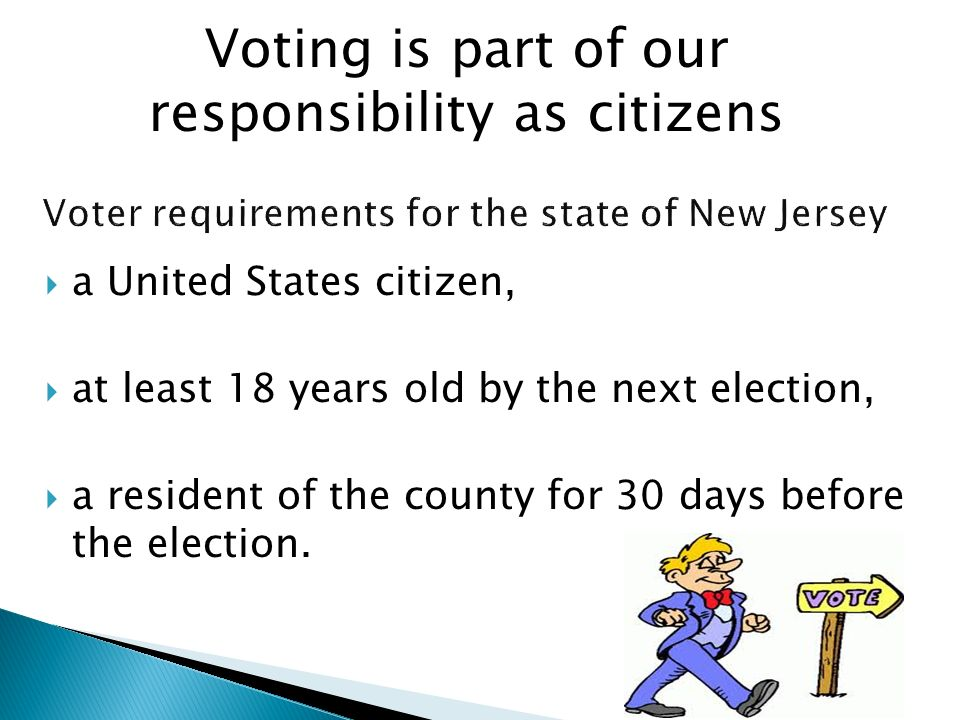 Voter requirements for the state of New Jersey