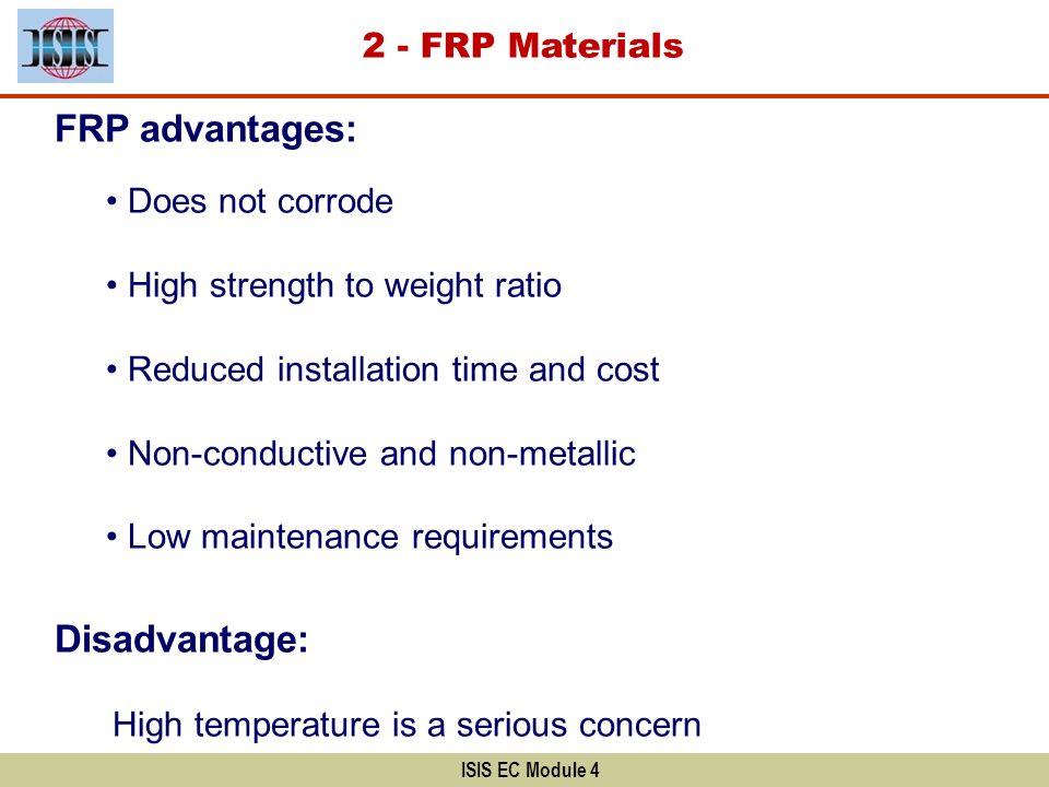 FRP advantages: Disadvantage: 2 - FRP Materials Does not corrode