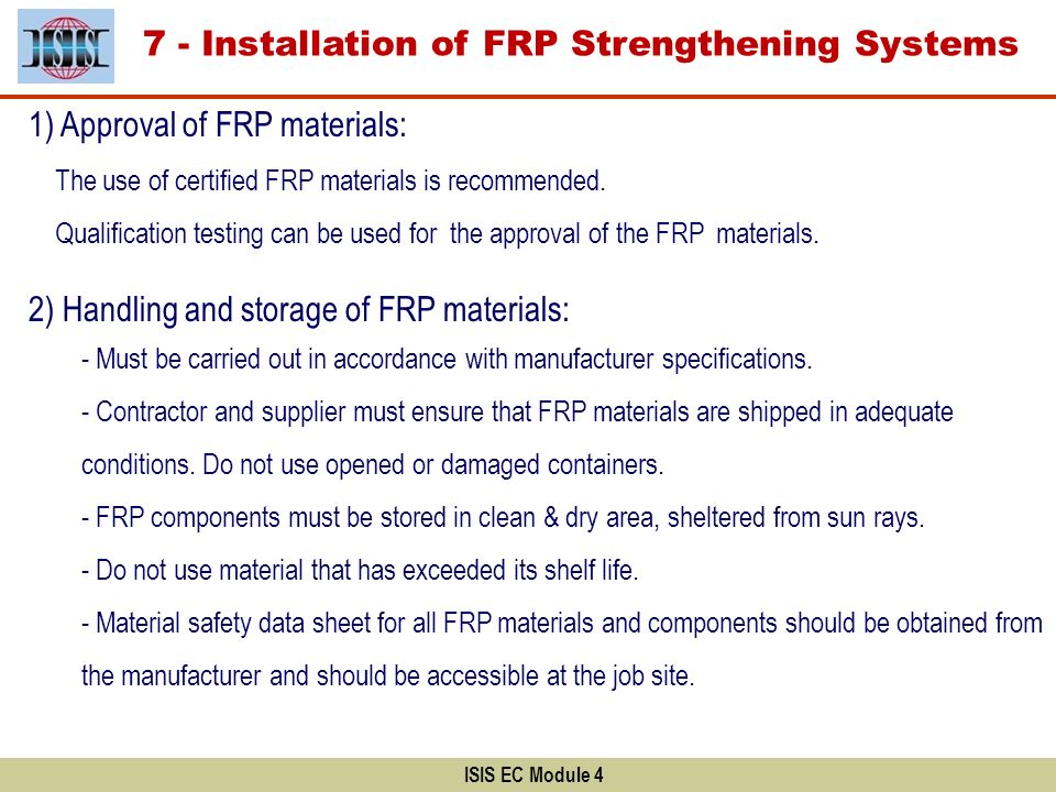 7 - Installation of FRP Strengthening Systems