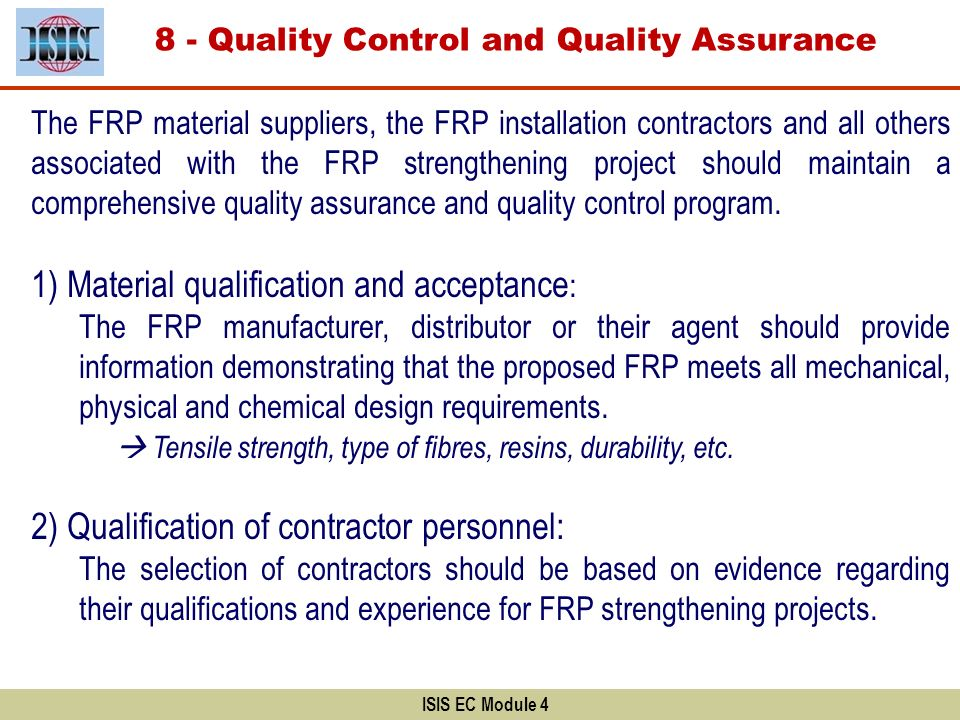 8 - Quality Control and Quality Assurance
