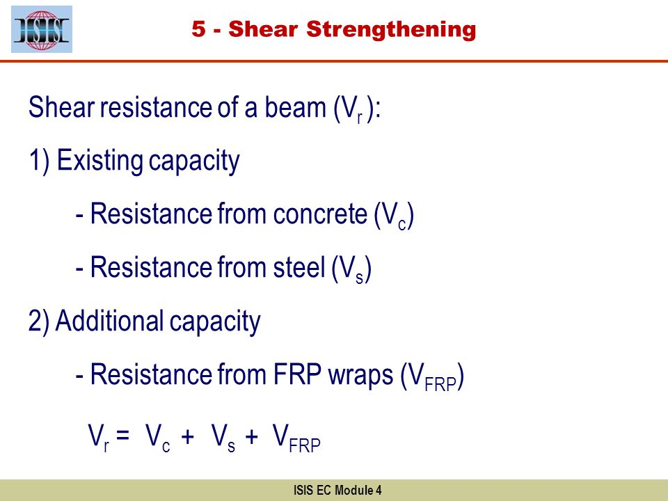 Shear resistance of a beam (Vr ): 1) Existing capacity