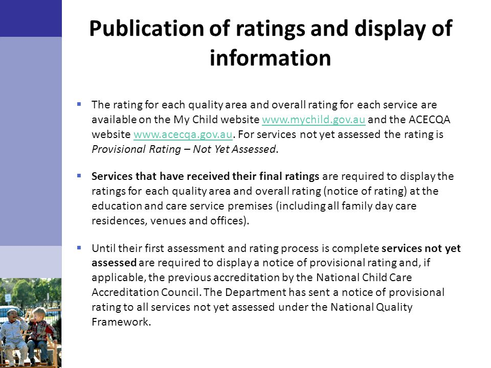Publication of ratings and display of information