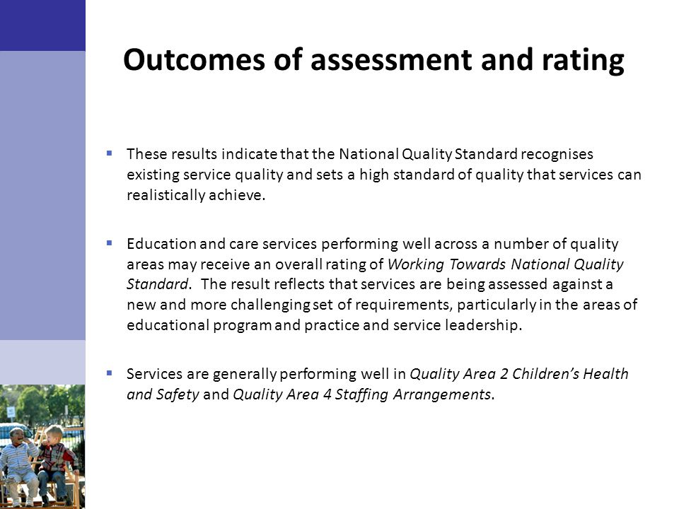 Outcomes of assessment and rating