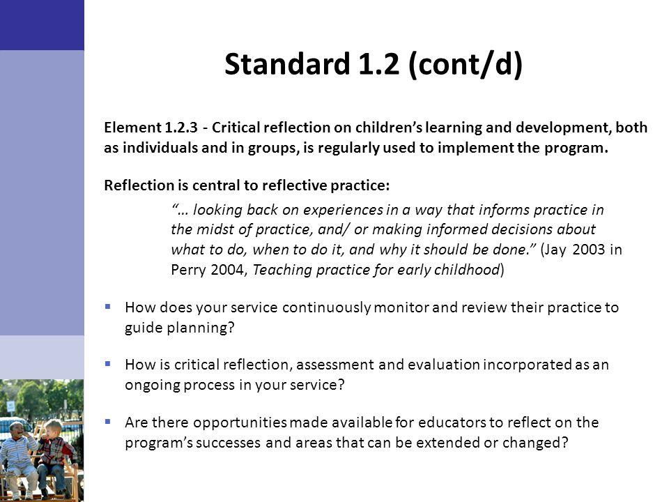 Standard 1.2 (cont/d)