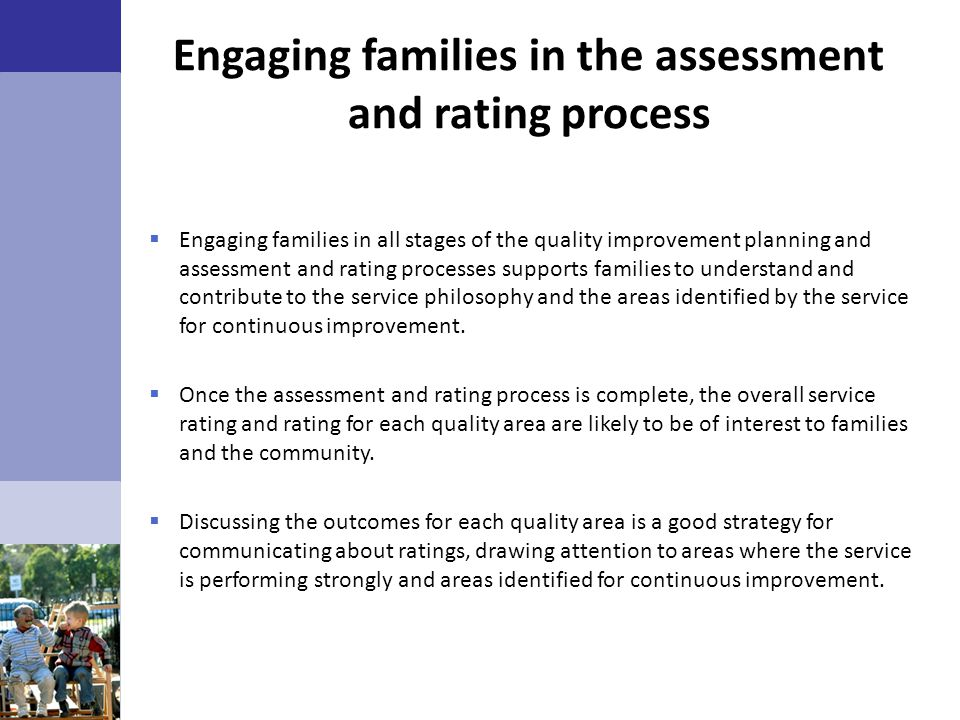 Engaging families in the assessment and rating process