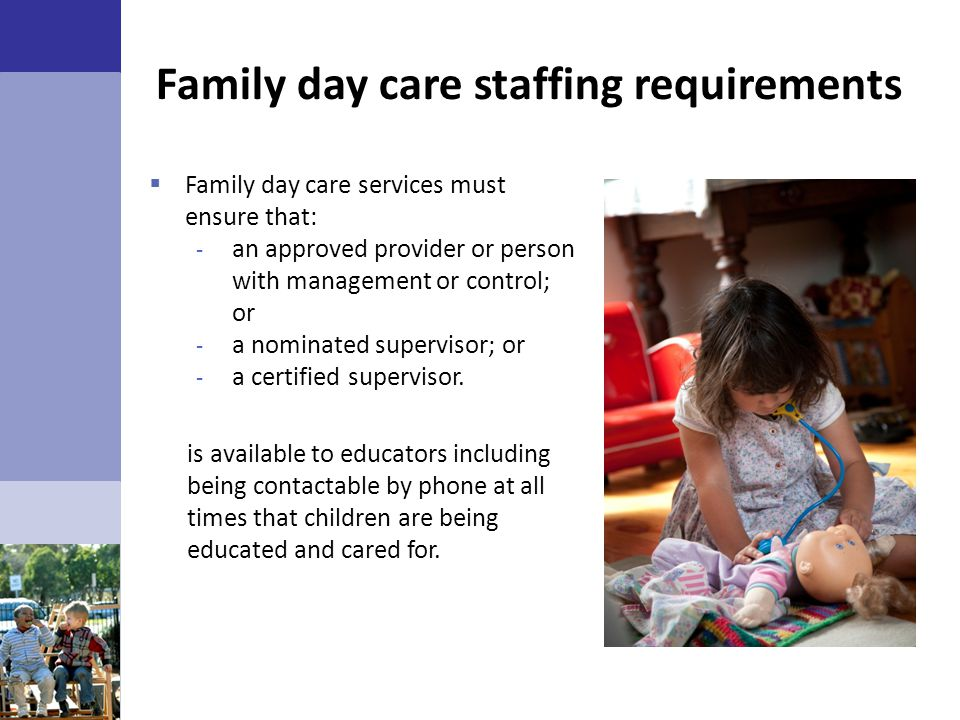 Family day care staffing requirements