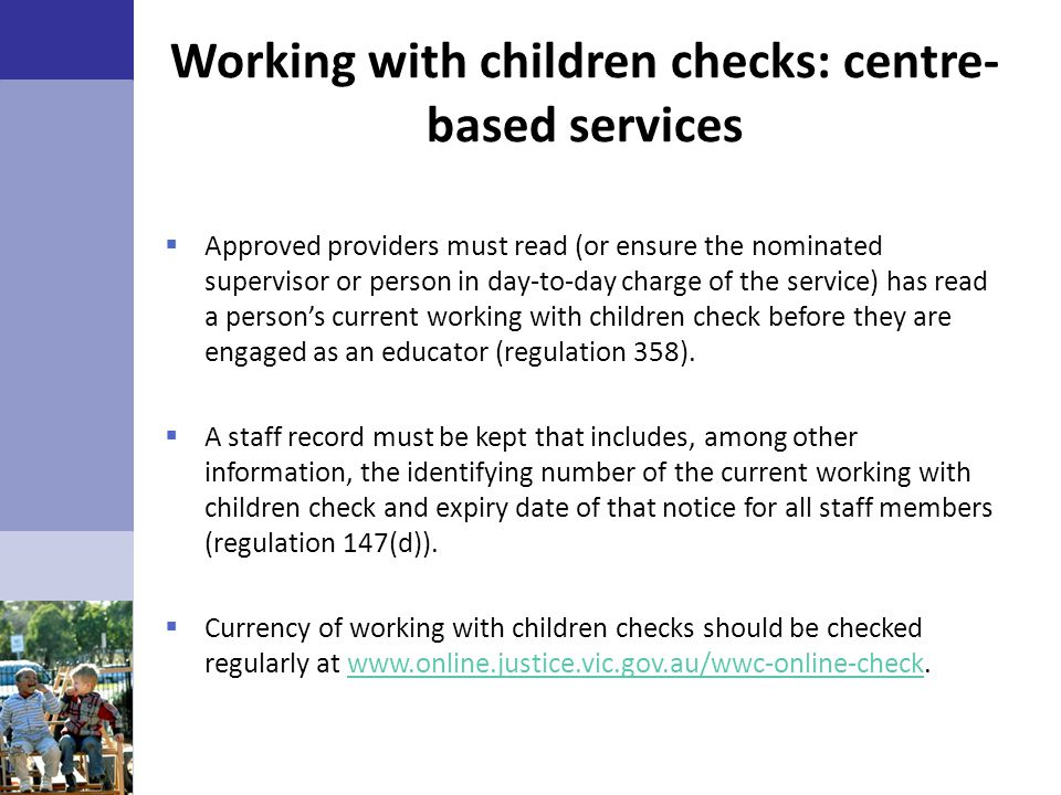 Working with children checks: centre-based services