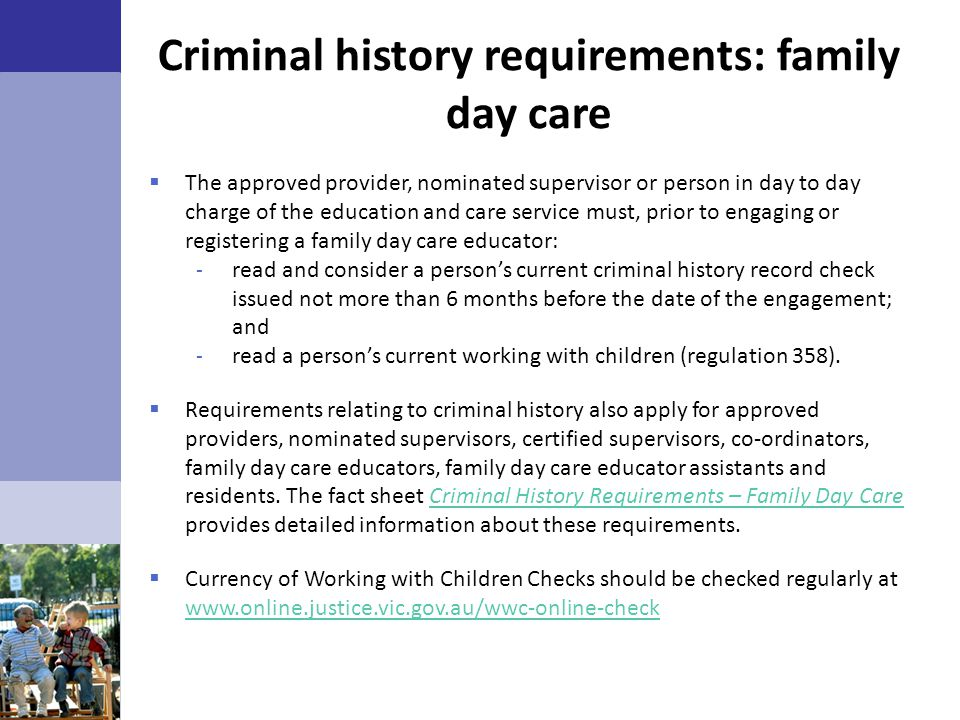 Criminal history requirements: family day care