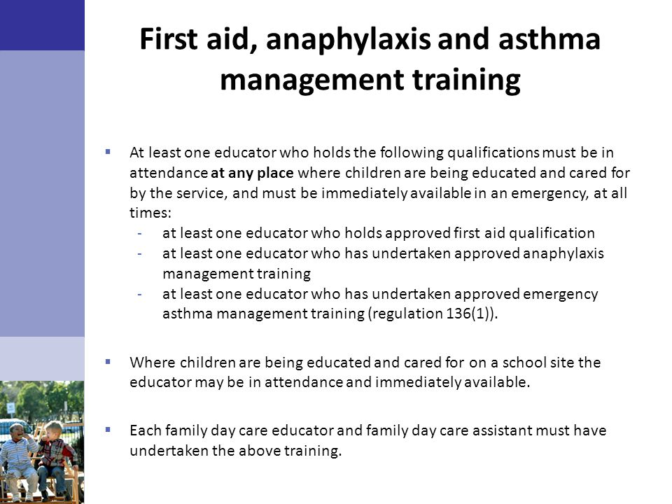 First aid, anaphylaxis and asthma management training