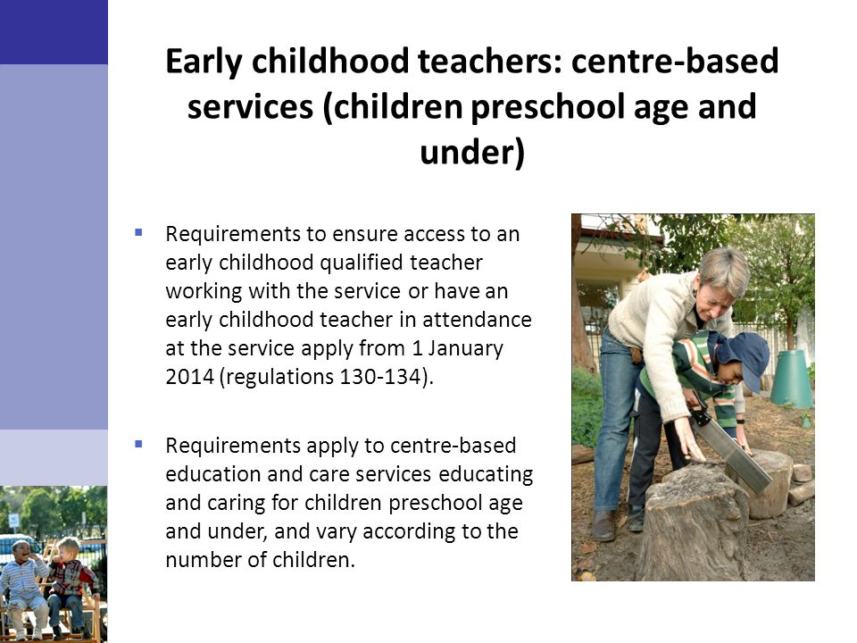 Early childhood teachers: centre-based services (children preschool age and under)