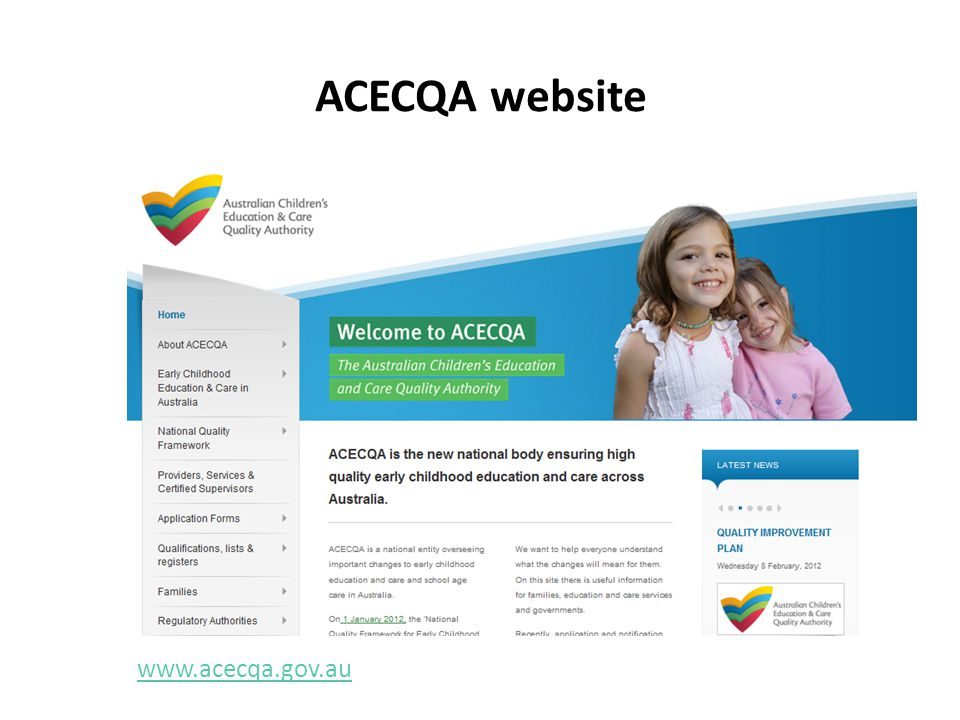 ACECQA website www.acecqa.gov.au